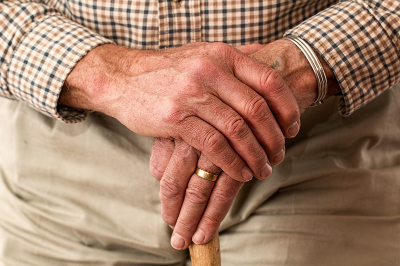 Elderly hands on a cane