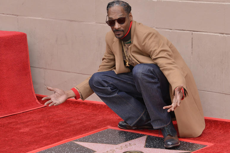 Snoop Dogg with his Walk of Fame star