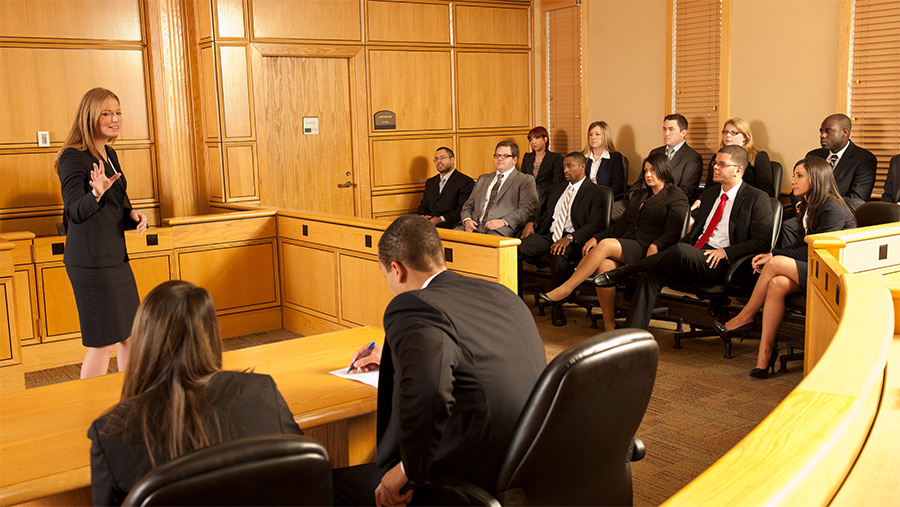 Students in a practice trial at Stetson Law